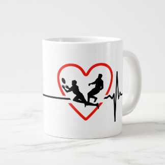 rugby heartbeat design large coffee mug