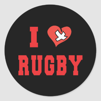 Rugby I LOVE RUGBY Round Sticker