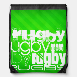 Rugby; Neon Green Stripes Drawstring Bag