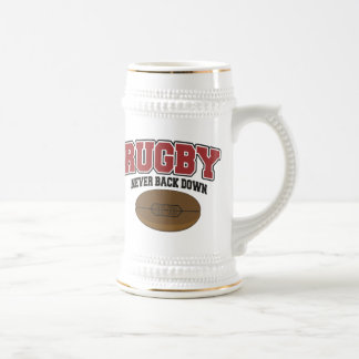 Rugby Never Back Down 18 Oz Beer Stein