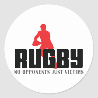 Rugby No Opponents Just Victims Round Sticker