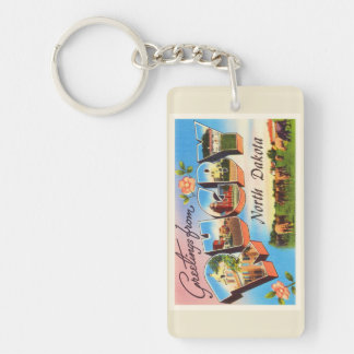 Rugby North Dakota ND Old Vintage Travel Souvenir Double-Sided Rectangular Acrylic Keychain