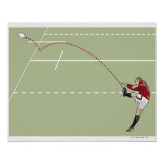 Rugby player kicking ball into touch, dotted poster