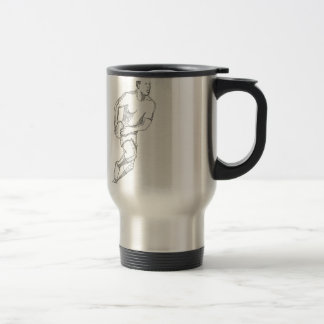 Rugby Player Passing Ball Doodle Art Travel Mug
