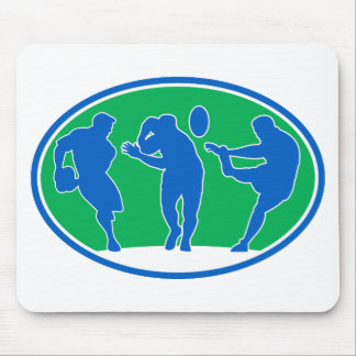 rugby player run fend pass kick mouse pad