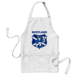 rugby player running ball scotland flag shield standard apron