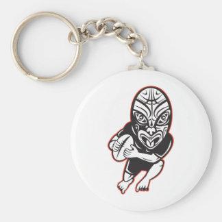 Rugby player running wearing Maori mask Keychain