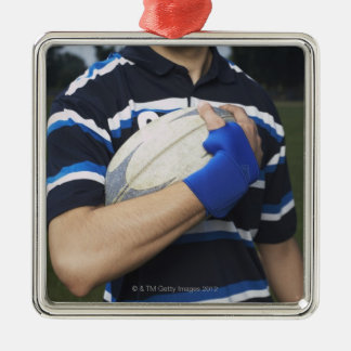 Rugby player with ball metal ornament