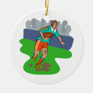 Rugby Round Ceramic Ornament