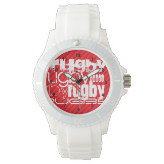 Rugby; Scarlet Red Stripes Wristwatches