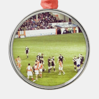 Rugby Silver-Colored Round Ornament