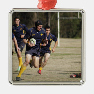 Rugby Silver-Colored Square Ornament