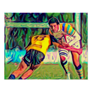 Rugby Tackle - Art On Canvas Print