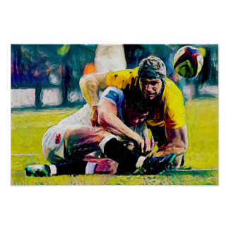 Rugby Tackle Watercolour - Print