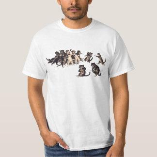 rugby vintage jouant le T-shirt de chats