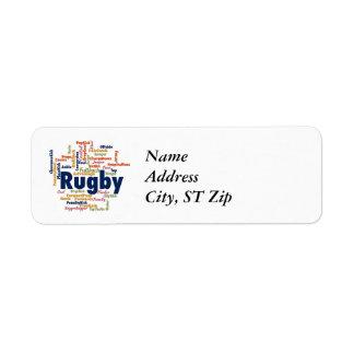 Rugby Word Cloud Return Address Label