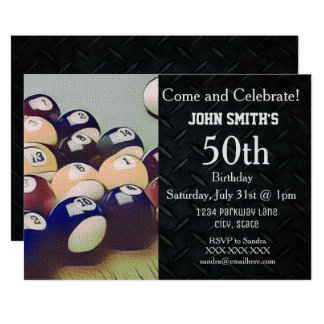 Rugged Adult Billiards Men's Birthday Invitations