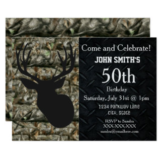 Rugged Adult Deer Hunting Birthday Invitations