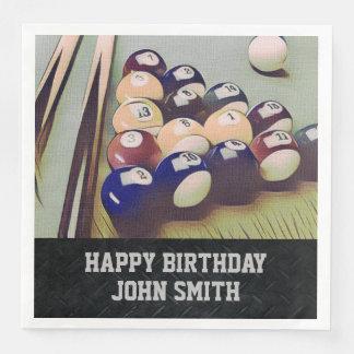 Rugged Billiards Men's Birthday Napkins Paper Napkin