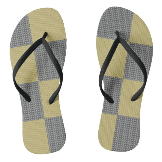 Rugged Black and Green Squares Flip Flops
