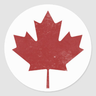 Rugged Canadian Maple Leaf Classic Round Sticker