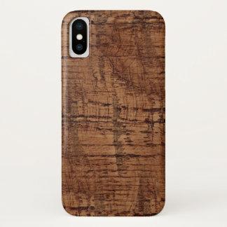 Rugged Chestnut Oak Wood Grain Look iPhone X Case
