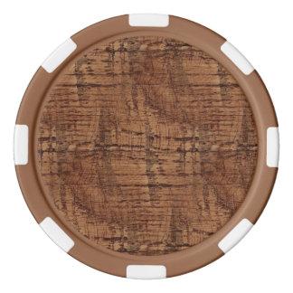Rugged Chestnut Oak Wood Grain Look Poker Chip Set