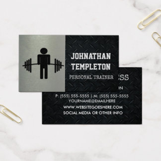 Rugged Diamond Plate and Silver Personal Trainer Business Card
