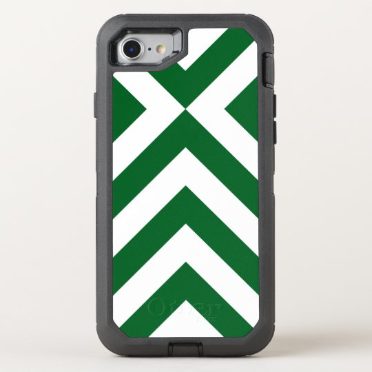 Rugged Geometric Green and White Chevrons OtterBox Defender iPhone 7 Case