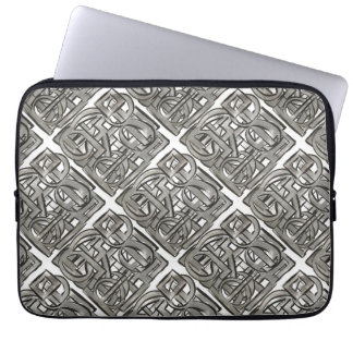 Rugged Gray-Hand Painted Abstract Geometric Laptop Sleeve