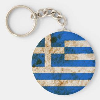 Rugged Greek Flag Basic Round Button Keychain