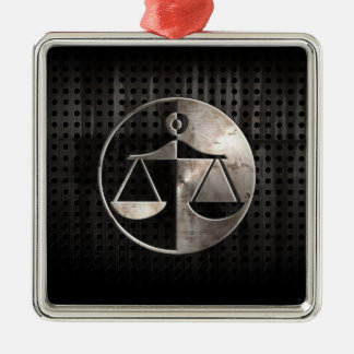 Rugged Justice Scales Silver-Colored Square Ornament