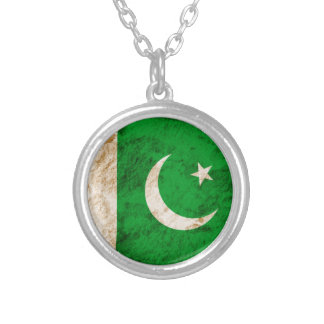 Rugged Pakistani Flag Silver Plated Necklace