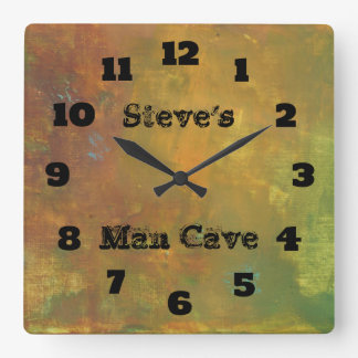 Rugged Rustic Earthy Tones Abstract Man Cave Square Wall Clock