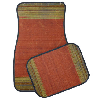 Rugged Rusty Red Green Stripes Car Floor Mats