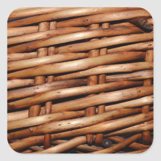 Rugged Wicker Basket Look Square Sticker
