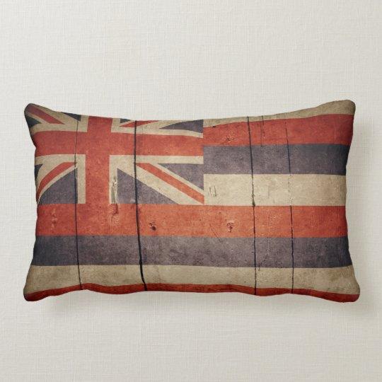 Rugged Wood Hawaii Flag Lumbar Pillow