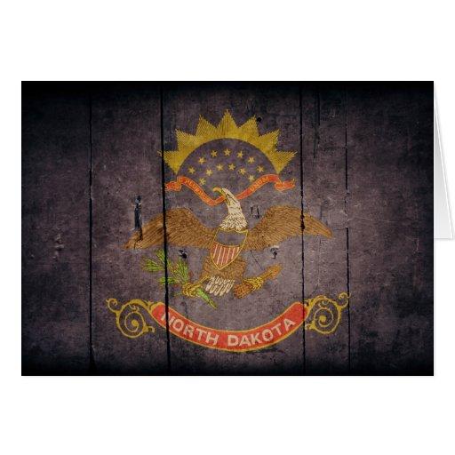 Rugged Wood North Dakota Flag Greeting Card