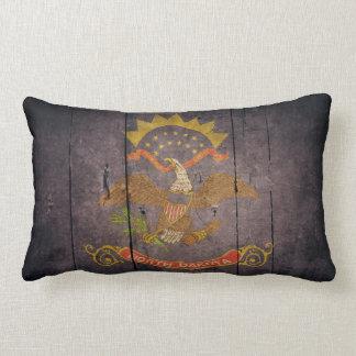 Rugged Wood North Dakota Flag Lumbar Pillow