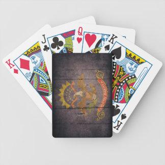Rugged Wood North Dakota Flag Playing Cards