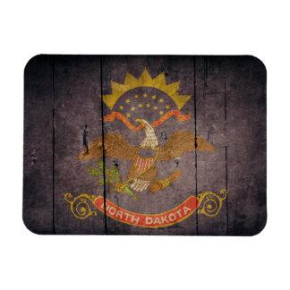 Rugged Wood North Dakota Flag Vinyl Magnets
