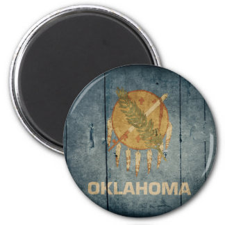 Rugged Wood Oklahoma Flag Magnet