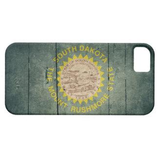 Rugged Wood South Dakota Flag Case For The iPhone 5