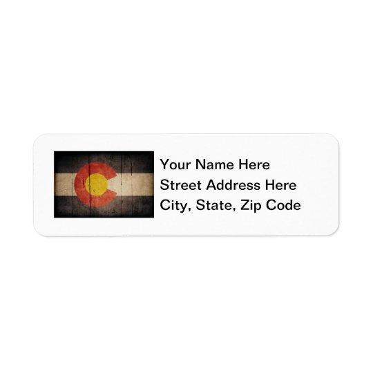 Rugged Wooden Colorado Flag Return Address Label