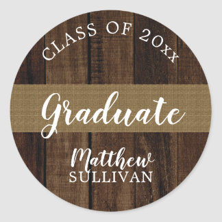 Rugged Woodsy Graduate Class of 2018   Name Classic Round Sticker