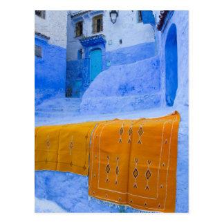 Rugs Draped On A Blue Wall Postcard