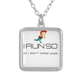 Ruining for health and fitness silver plated necklace