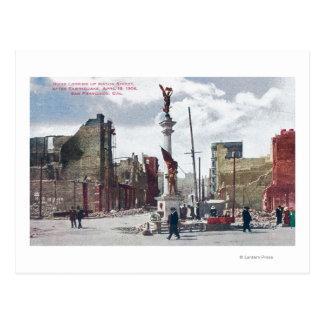 Ruins Along Mason Street, Union Square Statute Postcard