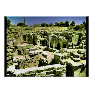 ruins corinth greece poster