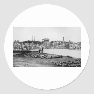 Ruins in front of the Capitol in Richmond, 1865 Round Sticker